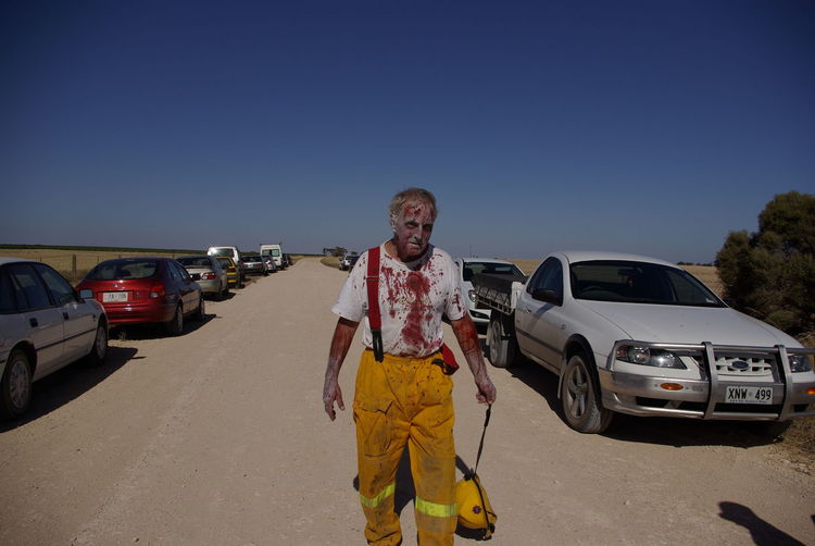 This isn't going to end well Escapism Location Shoot Movie Extra Outdoors Road Zombie Zombie Firefighter