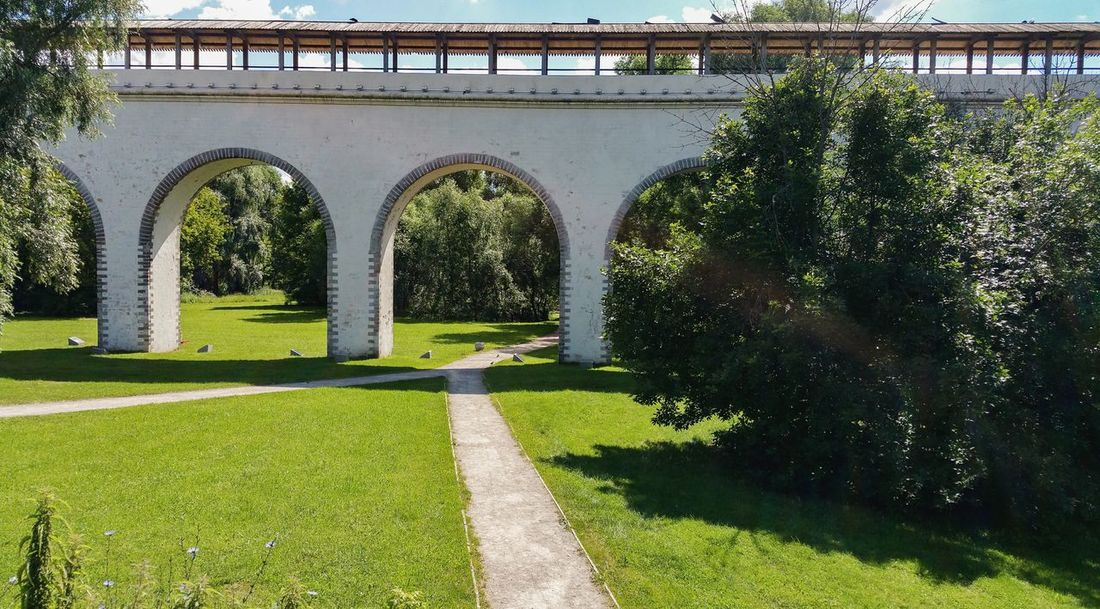 Moscow Landscape City Москва Russia Яуза Aqueduct Architecture Arch Green Color Park - Man Made Space Bridge - Man Made Structure Cityscape Architectural Column River Summer Park Travel Destinations City Life Built Structure Green No People река Tree Day
