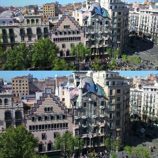 TheTwo Most Important Modernist Houses Paseo De Gracia Barcelona CasaBatllò (Gaudi) And Casa Ametller (Puig i Cadafall)View From  The Front Terrace