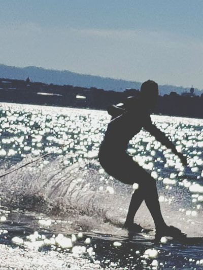 Silhouette One Person Standing Water Surf Wakeboarding Wakesurf Wakesurfing Wake Wakeboard Geneva Geneve, Switzerland Geneva Lake EyeEmNewHere Second Acts Be. Ready.