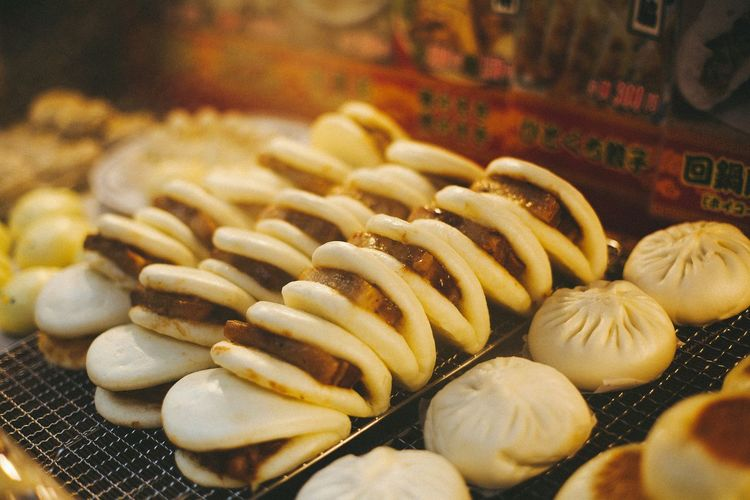 High angle view of chinese dumplings on barbecue grill