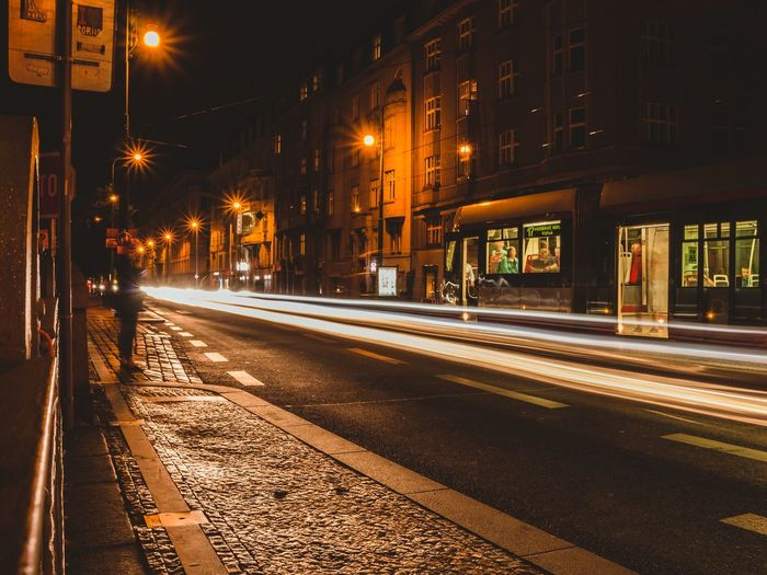 Cityscape Lights Architecture Street Built Structure Building Exterior City Transportation Illuminated Street Light The Way Forward Direction Light Trail Motion Snow Road Building Lighting Equipment No People Winter Long Exposure Night