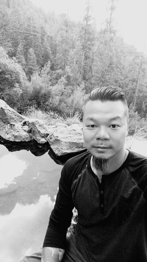 Spence Hot Springs Selfie ✌ Water Sky Reflections Nature Newmexico Black & White Trees Mountains