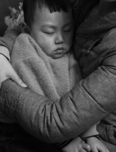 Close-up of cute baby sleeping