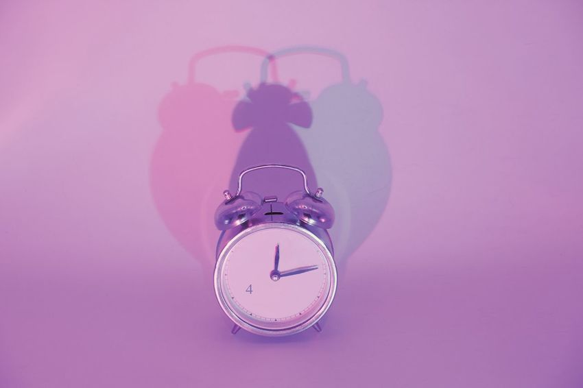 Time is tricky business Clock Jewelry Colored Background Studio Shot Close-up Still Life Copy Space Purple The Still Life Photographer - 2018 EyeEm Awards