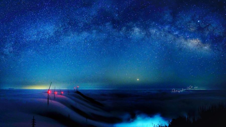 Walking in the sky - milky way on the cloud sea Landscape Galaxy CLOUDSEA Milkyway Star No People Nature Star Field Illuminated Scenics - Nature