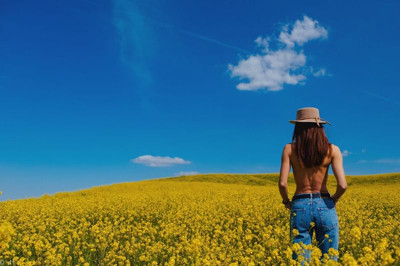 Rear view of woman standing on field against blue sky during sunny day