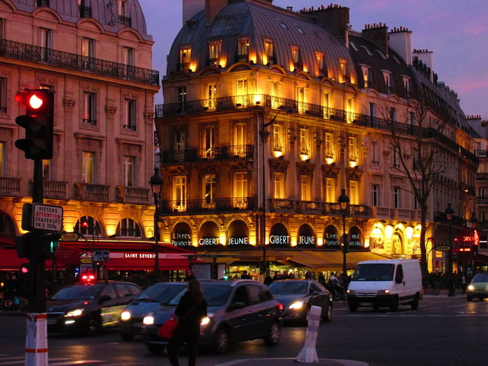 Architecture Building Exterior Built Structure Car City Downtown Illuminated Night Night Photography Nightshot Outdoors Paris Night Road Rose Sunset Street Streetphotography Sunset Sky Colorful Transportation