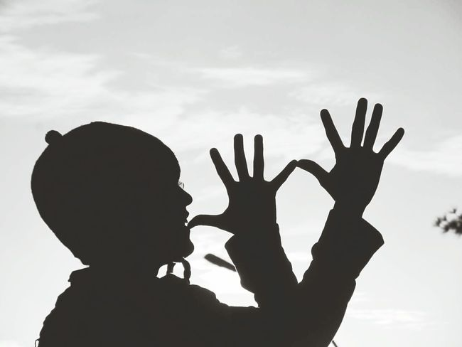 Silhouette Human Hand Human Body Part Gesturing Day People Sky Connection Sunset Outdoors Naturallight One Person Hands Up Black & White Blackandwhite Blackandwhite Photography Fresh On Eyeem  EyeEmNewHere