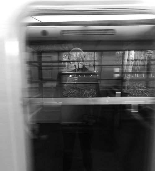 -Selfsubwayportrait- Reflection Convenience Rail Transportation Public Transportation Railroad Station Platform Close-up Day Subway Train Paris Paris ❤ HuaweiP9 Huaweiphotography Paris, France  Subway B/W Photography Real People Huawei P9 Leica People RerB Graphisme One Person Window Mirror