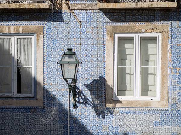 Portugal Portuguese Tiles  Blue Building Exterior Day Lisbon No People Outdoors Residential Building Shadow Street Light Tiles Window Windows