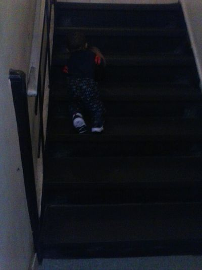 Real Serious Climbing Up The Stairs