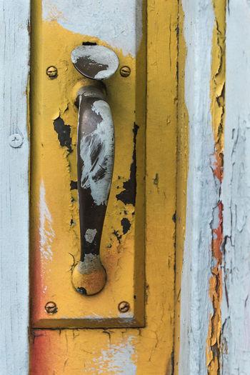 Close-up of old door handle