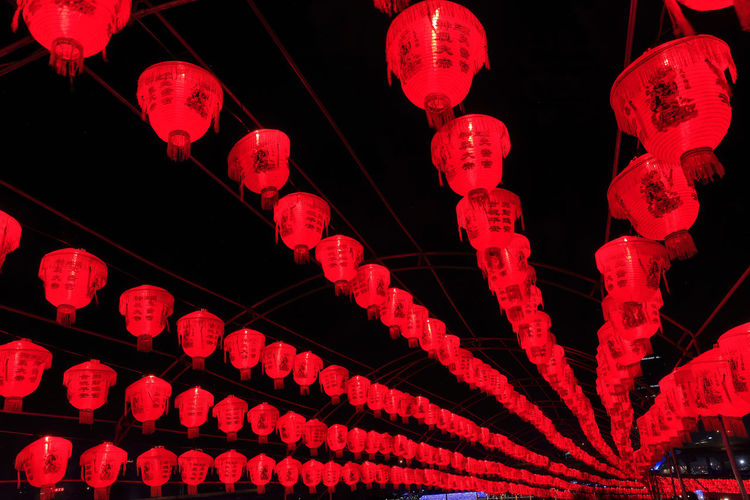 Night No People Red Lighting Equipment Illuminated Low Angle View Hanging Decoration Chinese Lantern Lantern Light - Natural Phenomenon Chinese New Year Celebration Indoors  Close-up In A Row Built Structure Festival