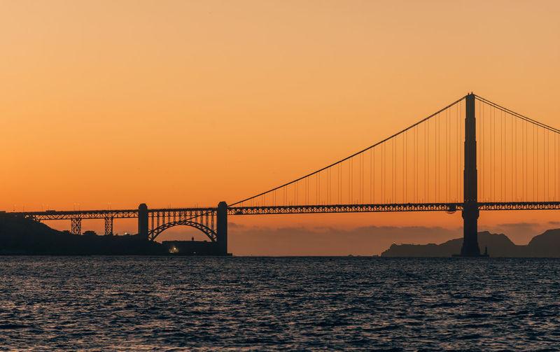 View of suspension bridge over sea during sunset