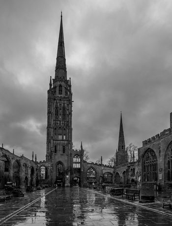 Coventry Cathedral ruins with Holy Trinity spire behind Blackandwhite Black And White Monochrome Street FUJIFILM X-T2 Coventry Coventry Cathedral - UK Spire  Architecture Tower City Urban Skyline