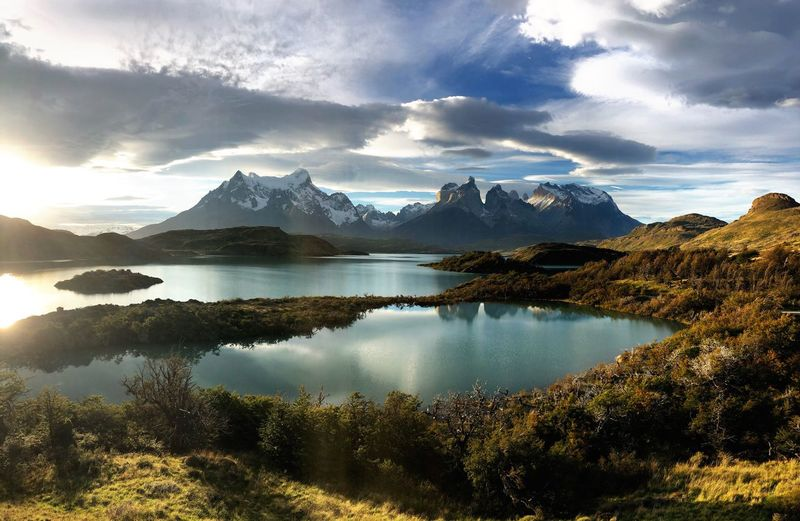 The beauty of Torres del Paine Torres Del Paine National Park Patagonia Torres Del Paine Water Sky Beauty In Nature Tranquility Cloud - Sky Lake Reflection Outdoors Mountain Range Mountain Tranquil Scene