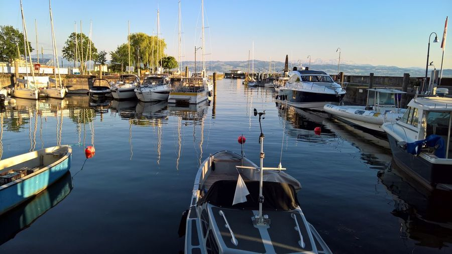 EyeEm Selects Clear Sky Boat Lake Constance Harbor Reflection No People