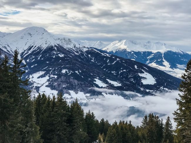 Idyllic Tranquil Scene Tranquility Patscherkofel Cloud - Sky Panoramic Shades Of Winter Tyrol Austria Alps Fir Tree Mountain Snow Sky Nature Beauty In Nature Landscape Cloud - Sky Winter No People Outdoors Snowcapped Mountain Scenics Day Cold Temperature Range Tree