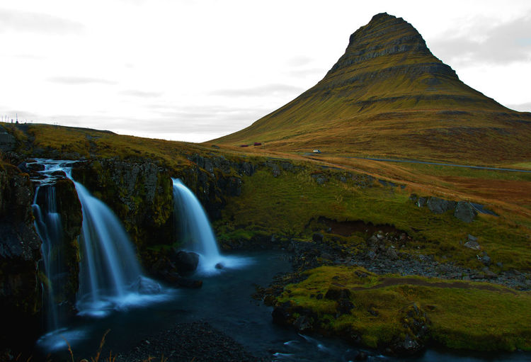 Scenics - Nature Sky Beauty In Nature Environment Mountain Nature Water Non-urban Scene Long Exposure Tranquil Scene Waterfall Motion Tranquility Landscape Day Flowing Water Outdoors Flowing Iceland