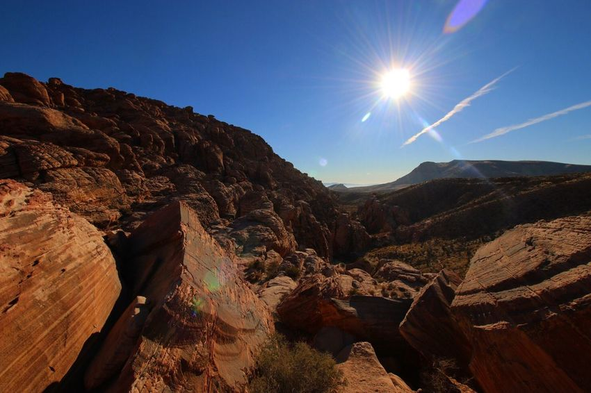 Red Rock Canyon Redrockcanyon Red Color Nature Sun Mountain Sunlight Landscape Beauty In Nature No People Outdoors Day Sky