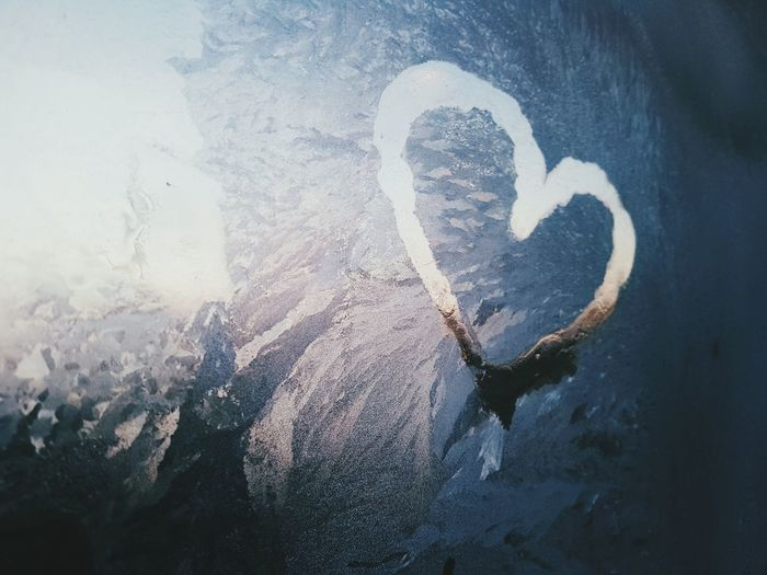 Heart on window Ice Light Winter Heart Shape Love Close-up Day Indoors  Nature No People