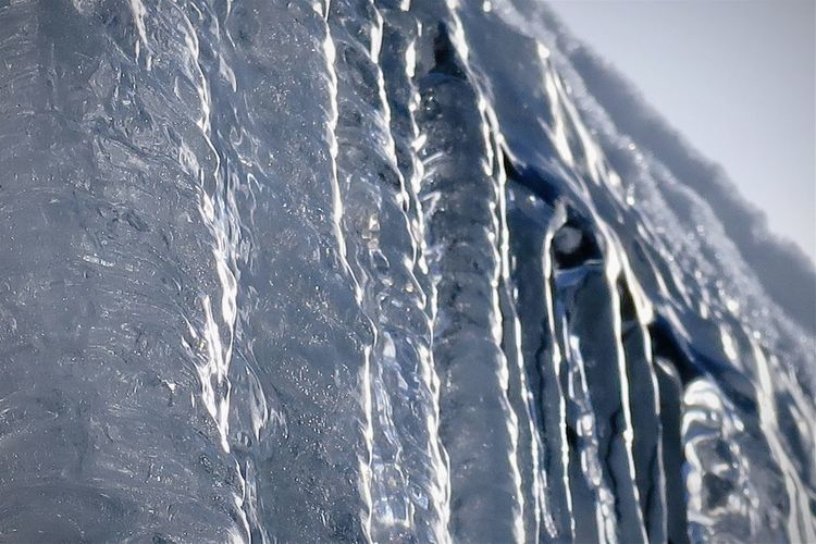 Close-up of icicles on sea against sky