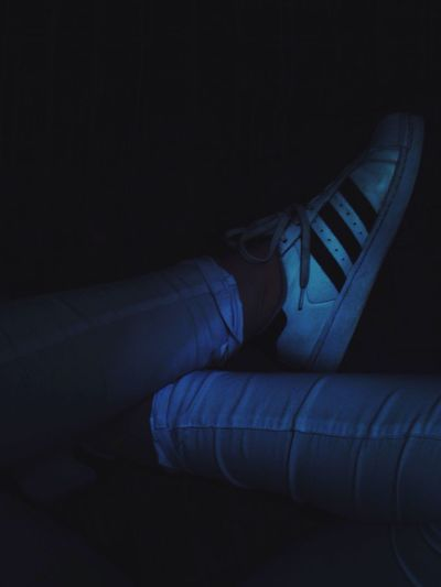Shoe Indoors  Out Of The Box Sneakers One Person Blue Black Background People