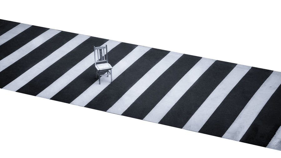 Striped White Color Road No People Sign Crossing Symbol Zebra Crossing Road Marking Day Crosswalk Marking City Architecture Transportation Street Outdoors