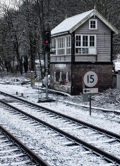 Architecture Day Hebden Bridge Information Sign Outdoors Railway Signal Box Snow Weather