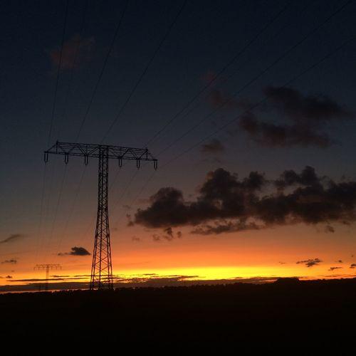 1/4 sunsets Silhouette Sunset Electricity Pylon Low Angle View Elmenhorst Lichtenhagen Rostock Hansestadt Rostock Sunsets Sonnenuntergang