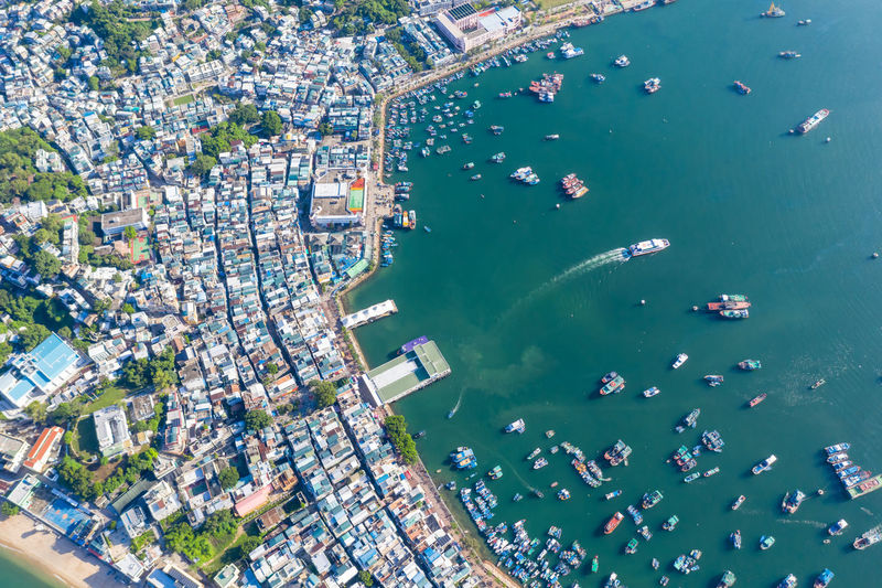 High angle view of buildings in sea
