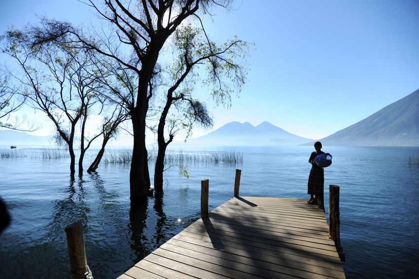 A maya indigenous girl at the deck of San Marcos La Laguna at Lake Atitlan in Guatemala. Central America Guatemala Lago De Atitlan Latin America Silhouette Bare Tree Beauty In Nature Blue Clear Sky Day Lake Lake Atitlán Nature One Person Outdoors People San Marcos La Laguna Scenics Sky Solola Tranquility Tree Volcano Volcán Water