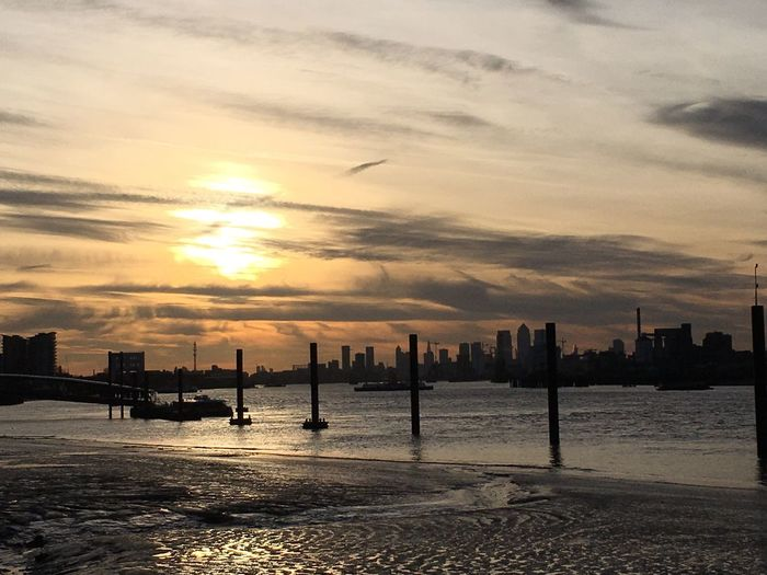 Golden Evening Sunset City Cloud - Sky Urban Skyline Cityscape River Thames London Paint The Town Yellow