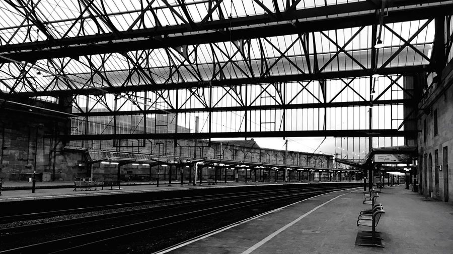 Carlisle train station- empty Blackandwhite IPhoneography Mobilephotography Black And White Black And White Photography EyeEm Best Shots - Black + White Rail Transportation Transportation Track Railroad Track Built Structure Railroad Station Architecture Railroad Station Platform Connection Public Transportation Mode Of Transportation No People Travel Metal