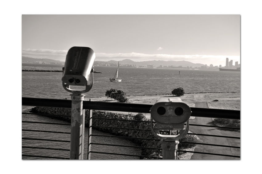 Observation Tower View 2 Middle Harbor Port Of Oakland,Ca. Observation Tower Embarcadero Cove Channel Sailboat Sailing San Francisco Bay Scenic Hills Of San Francisco Cityscape Freighter Deck Viewing Scopes Monochrome Sepia Monochrome_Photography Silhouettes Marine Layers! Black & White Black & White Photography Black And White Black And White Collection  Shoreline Park Nature Beauty In Nature Nature_collection Landscape_Collection Landscape_photography Skyscrapers