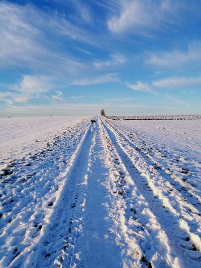 Tire Tracks On Snow Covered Landscape Against Sky