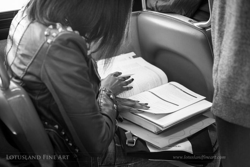 Finishing homework on the way to school, 6 October 2015. Street Photography Black And White TeamCanon Canonusa Nifty Fifty My Best Photo 2015