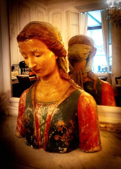 Statue of woman at home