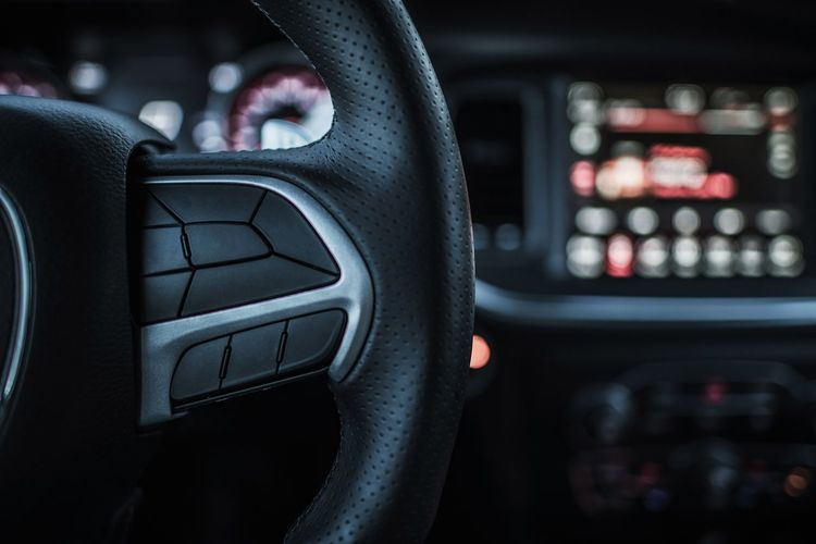 Close-Up Of Car Steering Wheel