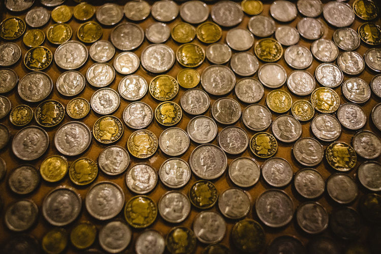Finance Large Group Of Objects Coin Abundance Gold Colored Indoors  Full Frame Business Currency No People Wealth Savings Business Finance And Industry Still Life Arrangement Backgrounds Close-up Gold Shiny High Angle View Luxury
