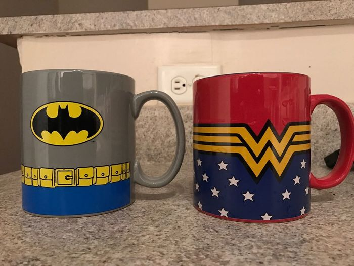 Batmanvsuperman Day Hubby And Wifey Morning Coffee No People Outdoors Super Heroes  Wonderwoman