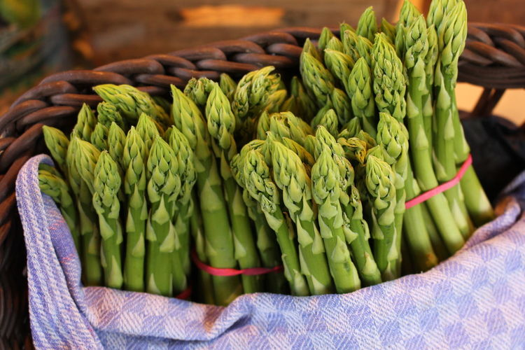 Close-Up Of Asparagus In Whicker Basket