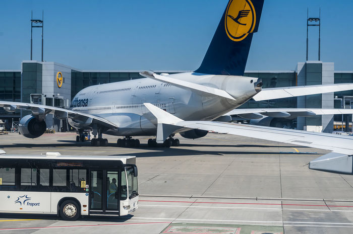 A Lufthansa Airbus A380 in the parking area at Frankfurt airport. Airbus Airbus A380 Lufthansa Lufthansa A380 Wing Airport Airport Bus Bus Editorial  Mode Of Transport Outdoors Parked Taxiway Transportation