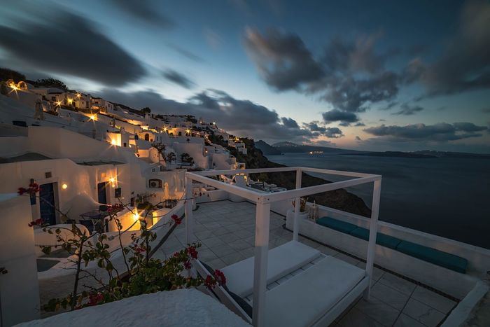 Breaking Dawn Long Exposure Sea And Sky Sun Rise Greek Islands Greece Santorini Oia Sea Cloud - Sky Sky Horizon Over Water Water Dusk Nature Scenics Outdoors Vacations Building Exterior Tourist Resort Architecture Travel Destinations Beauty In Nature Colour Your Horizn Go Higher