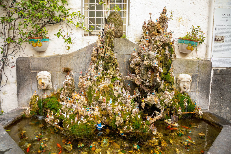 Italy Amalfi  Amalfi Coast Plant Nature Flower Architecture Flowering Plant Built Structure No People Day Art And Craft Sculpture Outdoors Building Exterior Creativity Statue Growth Water Wall - Building Feature Potted Plant Representation Vulnerability