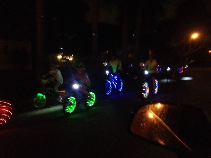 CyclingUnites Twinkle lights on night riders, bicycle club in Fort Myers, Florida. Looks amazing as large groups wheel by! Bicycles Fortmyersfl