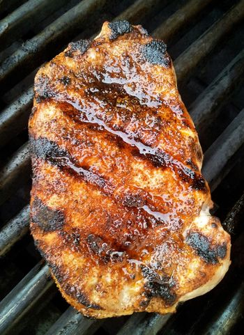 Grilled pork chop Grilled Pork Grilledpork BBQ Grilled Meat Porkchop Pork Chop Grill Pork Grilled Grilling Food Foodphotography Food Photography BBQ Time Lines Barbecue Meat! Meat! Meat! Barbeque Yum Cooking Grillmaster From Above  Overhead View Close-up Foodie