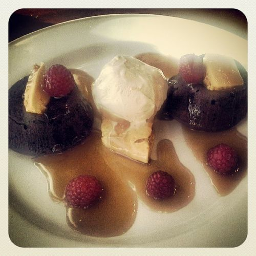 Carmel molten lava cake with sponge candy and raspberries. Gym? What gym?