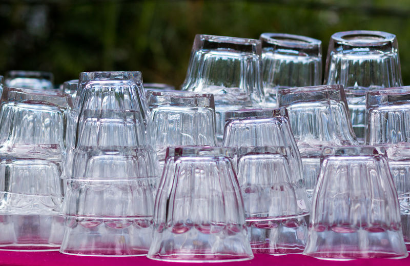 Close-up of wine glasses in water